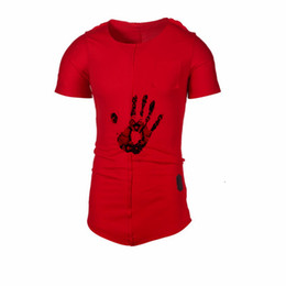 top clothing trends 2019 - Leisure Fashion finger Printing Short sleeve O-neck Cotton 2019 Summer T-shirt Loose Streetwear Men Tops Friends Trend C