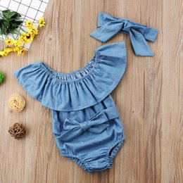 Wholesale Baby Fashion Rompers Baby Girls Robe Lotus Leaf Collar Strapless Rompers Kids Casual Solid Color Jumpsuits with Headband