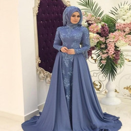 $enCountryForm.capitalKeyWord Australia - Modest Muslim Evening Dresses with Hijab High Neck Lace Appliques Long Arabic Saudi Party Celebrity Gowns Prom Dress with Detachable Skirt