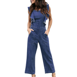 womens sleeveless rompers Australia - WomailFashion Womens Denim Bandage Ruffles Sleeveless Jumpsuits Rompers Long Pants Comfortable Jumpsuits M300111