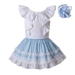 5742d39b6 Pettigirl Newest Children Designer Clothes Girls Set White Cotton Shirt And  Sky Blue Ruffle Skirt Cute Kids Clothing G-DMCS201-C142