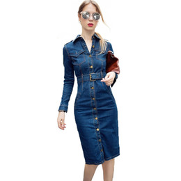 China 2018 OL Office Sexy Denim Dress Plus Size 3XL 4XL Long Sleeve Jeans Dress Women Bodycon Pencil Vestido Jeans Feminino cheap jeans dress plus size women suppliers