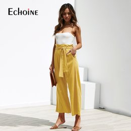 $enCountryForm.capitalKeyWord Australia - Casual Cotton Linen women high waist wide leg pants summer autumn office band loose palazzo trousers female black yellow pants SH190915