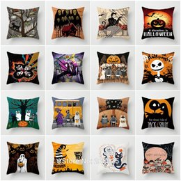 silver grey cushion covers NZ - ZENGA Halloween Cushion cover Skull Jack Pillow cover Polyester Horror Throw pillows Sofa Decorative Pillow case Home Decoration