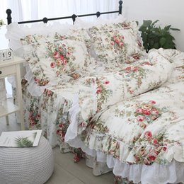 cotton baby bedding sets Canada - Free shipping 100%cotton Korean princess floral ruffles embroidered lace bedding set twin full queen king size bed skirt YYX T200706