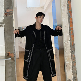 Discount trench coat men punk Men Rivet Streetwear Hip Hop Punk Gothic Long Trench Jacket Overcoat Male Vintage Loose Casual Cardigan Windbreaker Coat