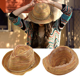 $enCountryForm.capitalKeyWord NZ - Hats Caps 2019 Hot Sale Tops Floppy Sun Hats For Women Simple Summer Beach Rainbow Straw Hat Leisure Fashionable Foldable Panama