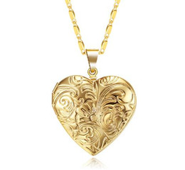 heart locket photo frame necklace Australia - 2020 Vintage Memory Locket Photo Frame Charms Gold Silver Color Heart Necklace For Women Pendant Collier Femme Printing Holiday