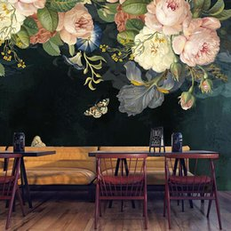 Rooms painted black online shopping - Custom D Wallpaper Silk Cloth Waterproof Canvas Murals Wall Painting Pastoral Floral Flower Oil Painting Black Mural Wallpaper