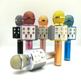 Wholesale WS-858 Wireless Speaker Microphone Portable Karaoke Hifi Bluetooth Player WS858 For XS 6 6s 7 ipad iphone Samsung Tablets PC PK Q7 Q9