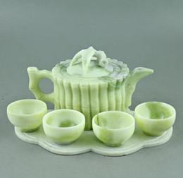 $enCountryForm.capitalKeyWord Australia - Lantian jade carved jade bamboo bamboo bundle teapot teapot four cups of tea Kung Fu