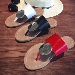 $enCountryForm.capitalKeyWord Australia - 2019 summer ladies beach flip flops slipper women girls summer flats heel atoll mule sandal shoes with round metal in calf high quality !