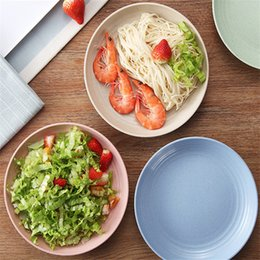 Round Kitchen Sets Australia - Kitchen Dishes Plastic Dinner Plates Eco Wheat Straw Round Dishes Plates Set 4 Colors Mixed Packing