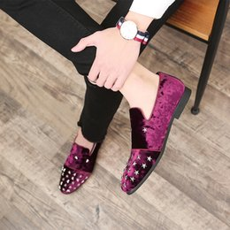 $enCountryForm.capitalKeyWord Australia - 2019 New Men's Metal Star Decoration Formal Dress Party Shoes Black Pink Suede Leather Loafers Fashion Night Club Shoes Size 37-48