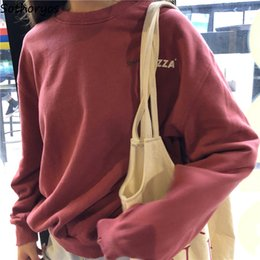 Women Velvet Clothes Australia - Hoodies Women O-Neck Thicker Plus Velvet Letter Printed Leisure All-match Pullovers Womens Korean Style High Quality Clothing