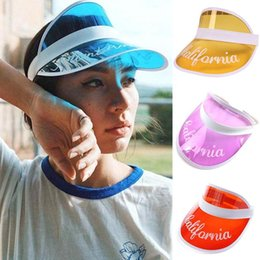 Discount girl plastic hat - Summer Plastic Visor Caps New Children Boy Girls Travel Hats Baby PVC Topless Letter Printed UV Protective Beach Hat
