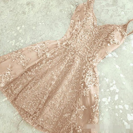 Pink lace maternity dresses online shopping - Champagne Grey Homecoming Dresses Appliqued V Neck Spaghetti Straps Beaded Cocktial Party Prom Gown Formal Occasion Wear Custom Made