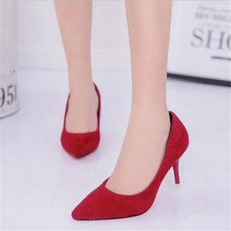 Wholesale Hot Selling Women Shoes Pointed Toe Pumps Patent Leather Dress Red CM High Heels Boat Shoes Shadow Wedding Zapatos Mujer