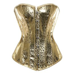 China Women Gothic Bustiers Vintage Steampunk Waist Corset Top Plus Size Gold Silver Showgirl Clubwear Burlesque Costume Boned Tops supplier sexy burlesque corsets costume suppliers