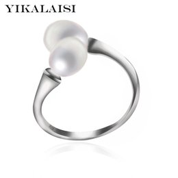 25 Silver Set UK - 25 sterling silver jewelry YIKALAISI 925 Sterling Silver Natural freshwater Double Pearl Fashion Interlaced Rings Jewelry For Women 8-9m...