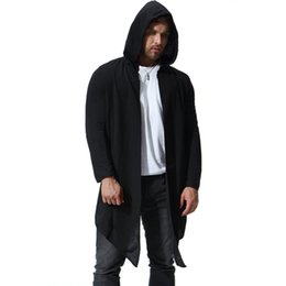 Wholesale punk trench coats for sale - Group buy Men autumn long hooded trench coat cloak thin cardigan men nightclub hip hop punk cape gothic style long jacket stage costume