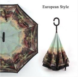 Бесплатная доставка оптовые продажи перевернутый зонтик ветрозащитный обратный для УФ-защиты вверх ногами c ручкой на Распродаже