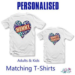 Leopard Kids T Shirts Australia - Personalised Leopard Print Heart Matching T-Shirt Set | Adults Tee | Kids Tee
