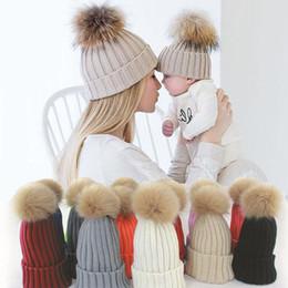 $enCountryForm.capitalKeyWord Australia - 1 Pcs Mother And Child Baby Warm Winter Knit Beanie Fur Pom Hat Crochet Ski Cap Family Match Hats