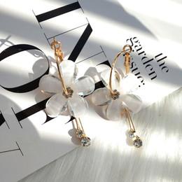 Newest desigN alloy online shopping - Women tassel flower earrings newest design transparent petal earring for women party jewelry