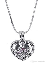 pearl bulk NZ - Fashion Love Pearl Heart Cage Pendants Hollow Letter Best Mom Lockets Charm In Silver Plated Fit Necklace Jewelry In Bulk Wholesale