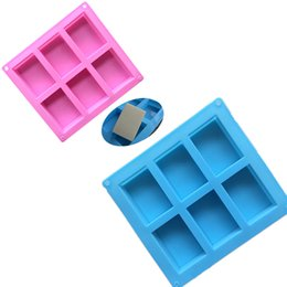 Chinese  silicone soap molds 6 Cavity Hole Rectangle DIY Baking Mold Tray Handmade Cake Biscuit Candy Chocolate Moulds Non-stick baking Tools manufacturers