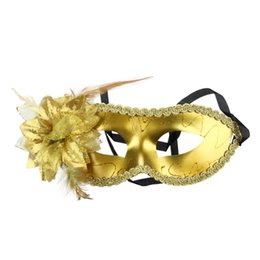 half face gold party masks UK - Venetian Feather Fancy Dress Masquerade Costume Carnival Party Ball Mask (Gold)