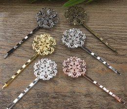 Flower Hair Clip Vintage Australia - 40pcs 55*20mm Metal bobby pin vintage flower hairpin rose gold silver hairclip antique bronze hair clip barrettes diy jewelry
