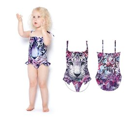 Children Swimwear Leopard NZ - kids swimwear Leopard Print Girls Swimsuit Cartoon Girls One-piece Swim Suits Kids Bathing Suits Girls Swimwear Child Sets Beachwear A3469