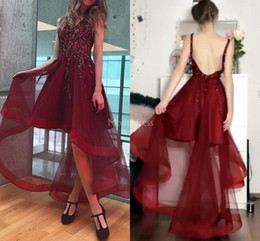 $enCountryForm.capitalKeyWord Australia - 2019 Sexy Prom Dresses Crystals V-Neck Backless High Low Beads Special Occasion Dresses Modern Formal Party Evening Gowns Vestidos De Fiesta