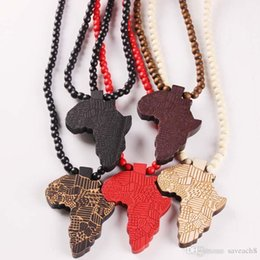 Wooden Pendants Men NZ - Fashion Made Stylish Africa Map Pendant Hip Hop 8mm Wood Beads Long Chain Men Wooden Pendants Necklaces Jewelry Gift