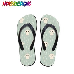 canvas dog shoes UK - NOISYDESIGNS Cute Women Slippers Summer Casual Slides Beach Shoes Ladies Indoor Slippers Dog Printing Flip Flops Sandals Femme