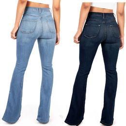 d33e9630d247d 2019 Hot Jeans évasé femme élégante style rétro cloche bas maigre denim  pantalon jambe large jean taille haute sexy pantalon simple