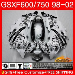 Body Scorpion bianco Per SUZUKI KATANA GSXF 750 600 GSXF600 98 99 00 01 02 2HC.7 GSX750F GSX600F GSXF750 1998 1999 2000 2001 2002 Kit carenatura in Offerta