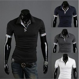Two Shirts NZ - 2018 European and American new summer clothes Men's short-sleeved T-shirt fake two V-neck stitching casual men's POLO shirt