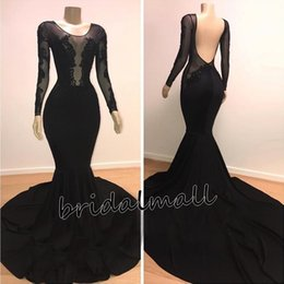 LiLac Long summer dress online shopping - Black Satin Beaded Appliques Long Sleeves Mermaid Prom Dresses Sexy Backless Formal Evening Dresses Cheap Long Party Bridesmaid Gowns