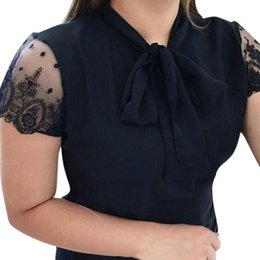 Discount womens short sleeve lace tops - Womens Tops And Blouses Black Solid Short Sleeve Summer Blouse Women Streetwear 2019 Women Tops Lace Bow Ladies Top And