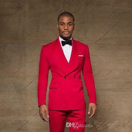 Customize Slim Fit Red Groom Tuxedos Groomsmen Shawl Lapel Double Breasted Best Man Suits Mens Wedding Suits (Jacket+Pants+Bows Tie)