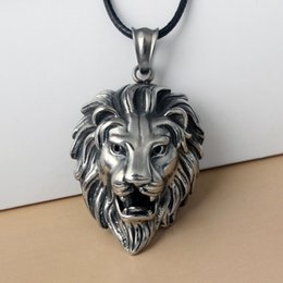 Big Lion Chain Australia - CUTEECO Hip Hop Big Lion Head Pendant & Necklace Animal King Vintage Stell Color Hiphop Rope Chain For Men Women Jewelry Gift