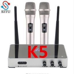 Handheld Wireless Karaoke Mikrofon Karaoke-Player Home Echo Mixer System Digital Sound Audio Mixer Singen Maschine K5 im Angebot