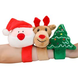 stuffed plush santa Canada - Auto Patting Bracelet Christmas Cute Wristband Plush Soft Stuffed Circle Santa Claus Tree Elk Deer Gift Toys for Kids Girls Ring