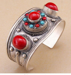 Coral Beads Strands Australia - FREE SHIPPING + Red Coral Stone Cuff Bracelet Bangle Tibet Silver Flower Bead