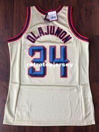 Top Costurado Hakeem Olajuwon # 34 Ouro Retro Camisa Tamanho XS-6XL Jersey 1996-97 MITCHELL E NESS basquete Jerseys Ncaa venda por atacado