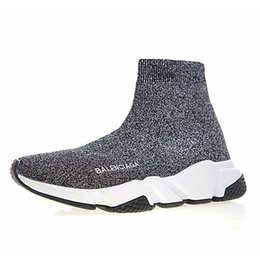 Flowered high heeled shoes online shopping - 2019 Designer Speed Trainer Men Women High Sock Shoes Black Blue Red Solid fashion Boots Trainers Runner Walking sneakers