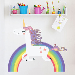 Cartoon Stick Wall NZ - Wholesale Multi Size Rainbow Unicorn Animal Scrawl Wall Stickers Children Bedroom Birthday Party Cartoon Theme Backdrop Adornment Paper